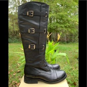 Vince Camuto Fenton Black Leather Boots US 7.5